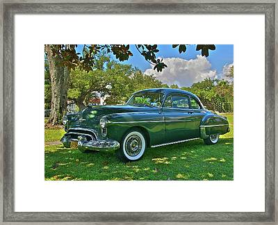 Emerald Oldsmobile Under The Magnolias Framed Print by Mike  Capone