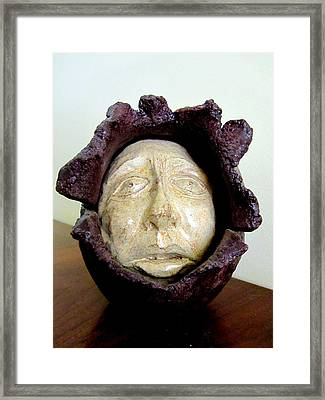 Emerging White Pale Face Born Out Of A Brown Purple Thing Eyes Nose Mouth Framed Print by Rachel Hershkovitz