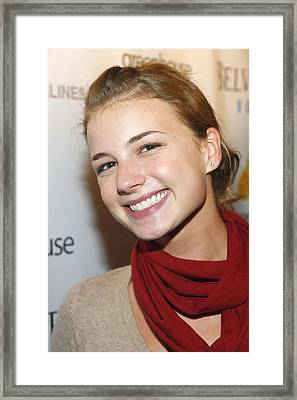 Emily Vancamp At Arrivals For Nhl Framed Print