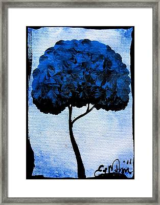 Framed Print featuring the painting Emily's Trees Blue by Oddball Art Co by Lizzy Love