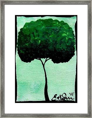 Framed Print featuring the painting Emily's Trees Green by Oddball Art Co by Lizzy Love