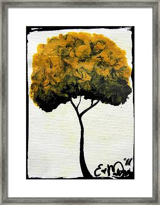Framed Print featuring the painting Emily's Trees Yellow by Oddball Art Co by Lizzy Love