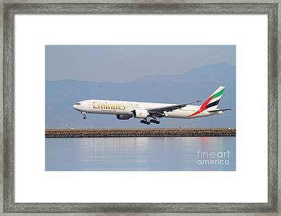 Emirates Airline Jet Airplane At San Francisco International Airport Sfo . 7d12100 Framed Print by Wingsdomain Art and Photography