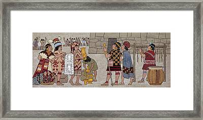 Emissaries Bring Tribute To Inca Framed Print by Ned M. Seidler