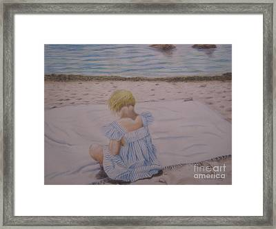 Emma On The Beach Framed Print by Heather Perez