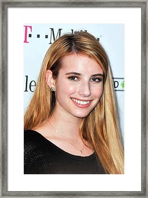 Emma Roberts At Arrivals For T-mobile Framed Print