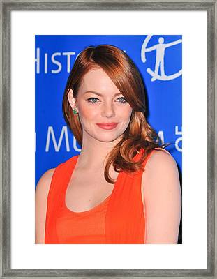 Emma Stone At Arrivals For American Framed Print