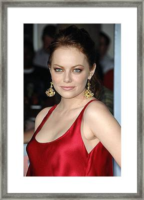 Emma Stone At Arrivals For Zombieland Framed Print
