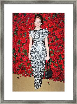 Emma Stone Wearing A Chanel Dress Framed Print by Everett