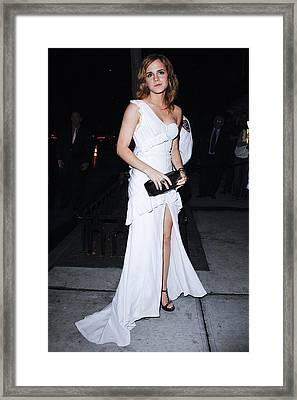 Emma Watson Wearing A White Framed Print
