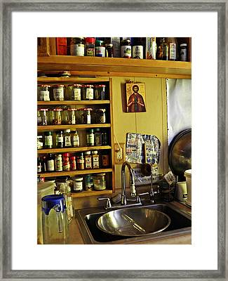 Emmaus House Kitchen Framed Print by Sarah Loft