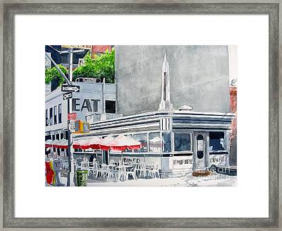Framed Print featuring the painting Empire Diner by Tom Riggs