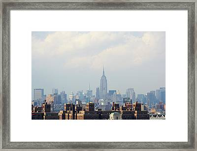 Empire State Building Seen From Lower Manhattan Framed Print by Ryan McVay