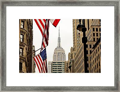 Empire State Buildings Stars And Stripes Framed Print by Matt Mawson