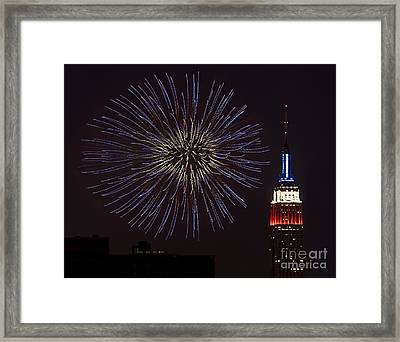 Empire State Fireworks Framed Print by Susan Candelario