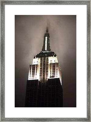 Empire State In The Fog Framed Print by Kelsey Horne