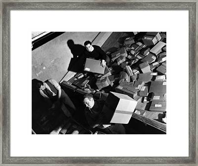 Employees At Macys Department Store Framed Print by Everett