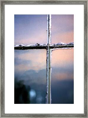 Empty Cross On The Window Of An Old Church Framed Print