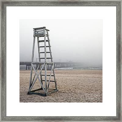 Empty Lifeguard Chair Framed Print by Skip Nall