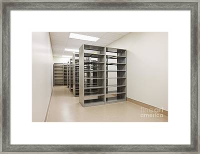 Empty Metal Shelves Framed Print