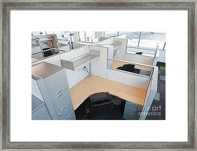 Empty Office Cubicles Framed Print by Jetta Productions, Inc
