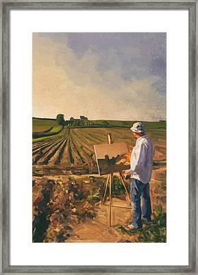 En Plein Air Painter Self Portrait Framed Print by Nop Briex
