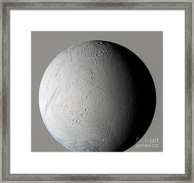 Enceladus Framed Print by NASA / Science Source
