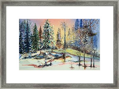 Framed Print featuring the painting Enchanted Forest At Sunset by Bernadette Krupa