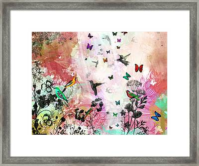 Enchanting Birds And Butterflies Framed Print