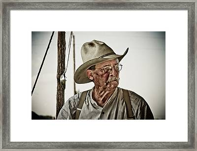 End Of A Long Day On The Chisholm Trail Framed Print by Toni Hopper