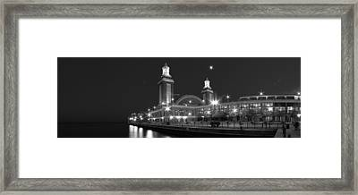 End Of Navy Pier In Black And White Framed Print
