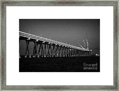 End Of The Jetty At Cloghan Point Oil Terminal In Belfast Lough Northern Ireland Uk Framed Print by Joe Fox