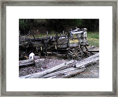 End Of The Trail Oregon Conestoga Wagon  Framed Print by Glenna McRae