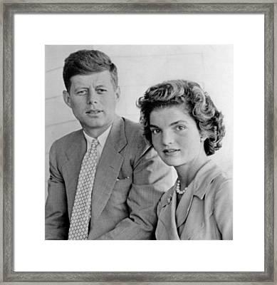 Engagement Portrait Of John Kennedy Framed Print by Everett