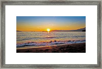 English Bay - Beach Sunset Framed Print by Eva Kondzialkiewicz