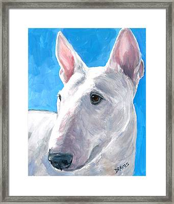 English Bull Terrier On Blue Framed Print by Dottie Dracos