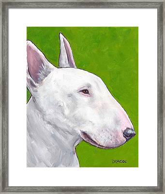 English Bull Terrier Profile On Green Framed Print by Dottie Dracos