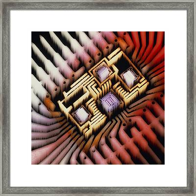 Enhanced Macrophoto Of A Hybrid Integrated Circuit Framed Print by Pasieka