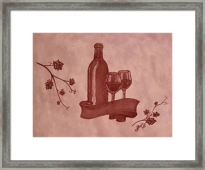 Enjoying Red Wine  Painting With Red Wine Framed Print by Georgeta  Blanaru