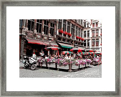 Enjoying The Grand Place Framed Print