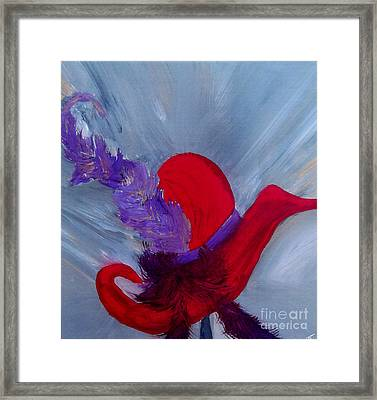 Framed Print featuring the painting Ensemble Chapeau Rouge by Ayasha Loya