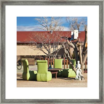 Ensemble Of Seats Arranged Outside Framed Print by Eddy Joaquim