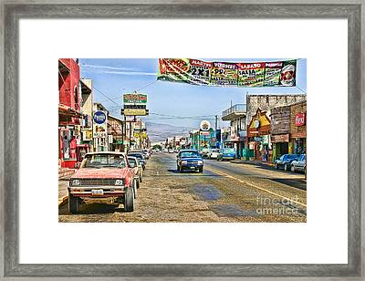 Framed Print featuring the photograph Ensenada Street Scene by Lawrence Burry