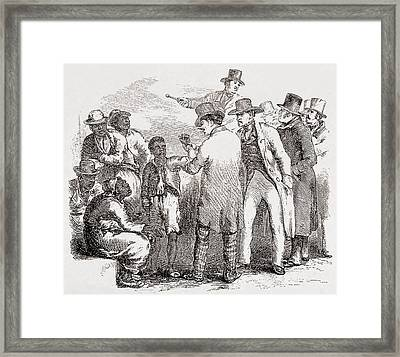 Enslaved African American Sold At An Framed Print
