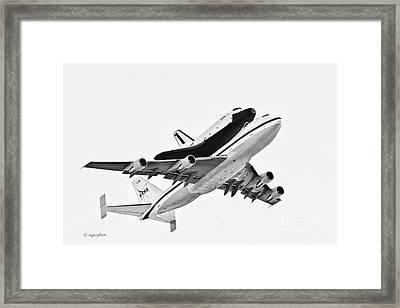 Enterprise Shuttle Ny Flyover Framed Print by Regina Geoghan