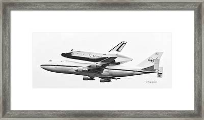 Enterprise Shuttle Nyc -black And White  Framed Print by Regina Geoghan