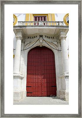 Entrance Of A Bullring Framed Print by Perry Van Munster