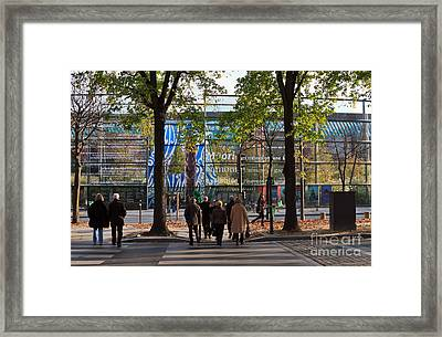 Entrance To Musee Branly In Paris In Autumn Framed Print by Louise Heusinkveld