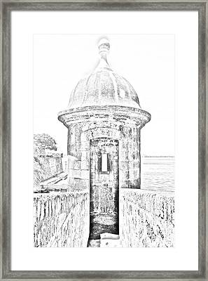 Entrance To Sentry Tower Castillo San Felipe Del Morro Fortress San Juan Puerto Rico Bw Line Art Framed Print by Shawn O'Brien