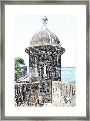 Entrance To Sentry Tower Castillo San Felipe Del Morro Fortress San Juan Puerto Rico Colored Pencil Framed Print